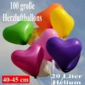 Maxi-Set 1B-45, 100 Herzluftballons 40-45 cm mit Helium, Farbauswahl