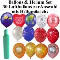 Helium Mehrweg Set mit 30 Luftballons, Auswahl selbst bestimmen