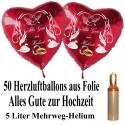 Midi Ballons Helium Set, 50 Herzballons aus Folie, Alles Gute zur Hochzeit, 5 Liter Helium