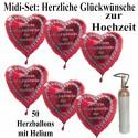 """Midi-Set 50 Herzballons """"Herzliche Glückwünsche zur Hochzeit"""""""