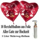 Mini Ballons Helium Set, 10 Herzballons aus Folie, Alles Gute zur Hochzeit, 1 Liter Helium