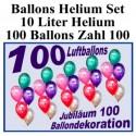 100 bunte Luftballons mit Helium, Zahl 100 zum 100. Jubiläum und Geburtstag