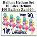 100 bunte Luftballons mit Helium, Zahl 90 zum 90. Jubiläum und Geburtstag