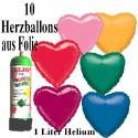 Herzluftballons Super-Mini-Set, 10 Hochzeitsballons aus Folie mit Helium (Farbauswahl)