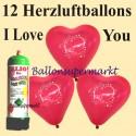 Herzluftballons Super-Mini-Set, 12 rote Herzballons I Love You, mit Helium-Einweg