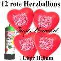 Herzluftballons Super-Mini-Set, 12 rote Hochzeitsballons Just Married mit Helium