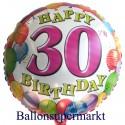 Happy Birthday 30 Balloons Luftballon mit Helium zum 30. Geburtstag