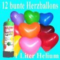Herzluftballons Super-Mini-Set, 12 bunte Hochzeitsballons mit Helium (Farbauswahl)