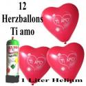 Herzluftballons Super-Mini-Set, 12 rote Herzballons Ti Amo, mit Helium-Einweg