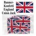 Banner Konfetti England, Tischdeko, Union Jack Flagge