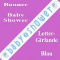 Buchstaben-Girlande Baby Shower, Blau