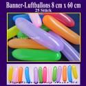 Banner Luftballons 6-8 cm, 25 Stück - Bunt gemischt