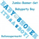 Jumbo-Banner-Set Shower with Love Boy, Dekoration Babyparty