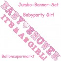 Jumbo-Banner-Set Shower with Love Girl, Dekoration Babyparty