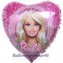 Luftballon Barbie mit Diadem, Herz-Folienballon mit Ballongas