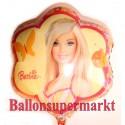 Luftballon Barbie mit Schmetterling, Folienballon ohne Ballongas