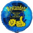Bestanden! Wir sind stolz auf Dich! Bravo! Blauer Luftballon mit Helium-Ballongas, Ballongrüße