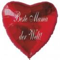 Beste Mama der Welt! Roter Herzluftballon aus Folie ohne Ballongas-Helium zum Muttertag
