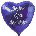 Bester Opa der Welt! Blauer Herzluftballon aus Folie ohne Helium