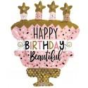 Happy Birthday, Cake Star, Folienballon mit Helium zum Geburtstag
