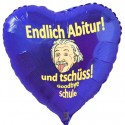 Folienballon zur Abiturfeier Endlich Abitur! Und tschüss - Goodbye Schule, Herzballon, blau, mit Helium-Ballongas