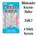 Blink-Leuchtender Geburtstagskerzenhalter mit 4 Geburtstagskerzen, Zahl 2