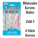 Blink-Leuchtender Geburtstagskerzenhalter mit 4 Geburtstagskerzen, Zahl 3