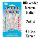Blink-Leuchtender Geburtstagskerzenhalter mit 4 Geburtstagskerzen, Zahl 4