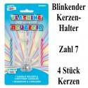 Blink-Leuchtender Geburtstagskerzenhalter mit 4 Geburtstagskerzen, Zahl 7