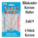 Blink-Leuchtender Geburtstagskerzenhalter mit 4 Geburtstagskerzen, Zahl 9