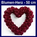 Blumen-Herz, Dunkelrot, Herz aus Blumen, 50 cm, Dekoration Hochzeit