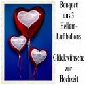 Bouquet aus 3 Helium-Herz-Luftballons, GLÜCKWÜNSCHE ZUR HOCHZEIT, inklusive Helium
