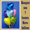Bouquet aus 7 bunten Herz-Helium-Luftballons, zu Liebe, Hochzeit und Valentinstag