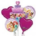 Ballon-Bouquet aus 5 Disney Princess Luftballons, Happy Birthday, inklusive Helium zum Kindergeburtstag