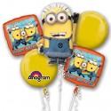 Ballon-Bouquet aus 5 Minions Luftballons, Happy Birthday, inklusive Helium zum Kindergeburtstag