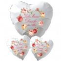 Liebe Mama! Danke für Alles! Bouquet aus Herzluftballons aus Folie mit Ballongas-Helium zum Muttertag