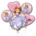 Ballon-Bouquet aus 5 Disney Sofia die Erste Luftballons, Happy Birthday, inklusive Helium zum Kindergeburtstag