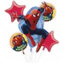 Ballon-Bouquet aus 5 Spider-Man Luftballons, Happy Birthday, inklusive Helium zum Kindergeburtstag