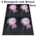 Autodekoration Hochzeit, 4 Bouquets mit Rosen für das Hochzeitsauto, Rosa