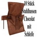 10 Stuhlhussen, Braun - Chocolat, mit Schleife