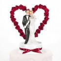 Hochzeitstorten-Dekoration Hochzeitspaar vor Rosenherz, Rot
