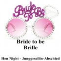 Bride to be Partybrille, Hen Party, Junggesellinnenabschied