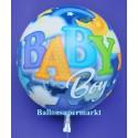 Bubble Luftballon zu Geburt und Taufe eines Jungen, Baby Boy (mit Helium)