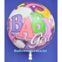 Bubble Luftballon zu Geburt und Taufe eines Mädchens, Baby Girl (mit Helium)