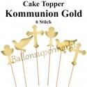 Cake Topper Kommunion, Gold, 6 Stück