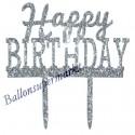 Spiegel Cake Topper Happy Birthday Glitter, Kuchendekoration zum Geburtstag