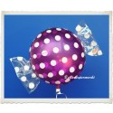 Candy Luftballon aus Folie mit Helium, Grape, Dots