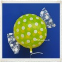 Candy Luftballon aus Folie mit Helium, Lemon, Dots