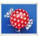 Candy Luftballon aus Folie mit Helium, Strawberry, Dots
