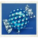 Candy Luftballon aus Folie mit Helium, Hellblau, Dots